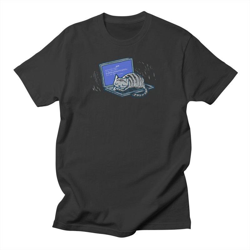 Blue Screen of Cat Men's T-Shirt by Ape Lad's Artist Shop