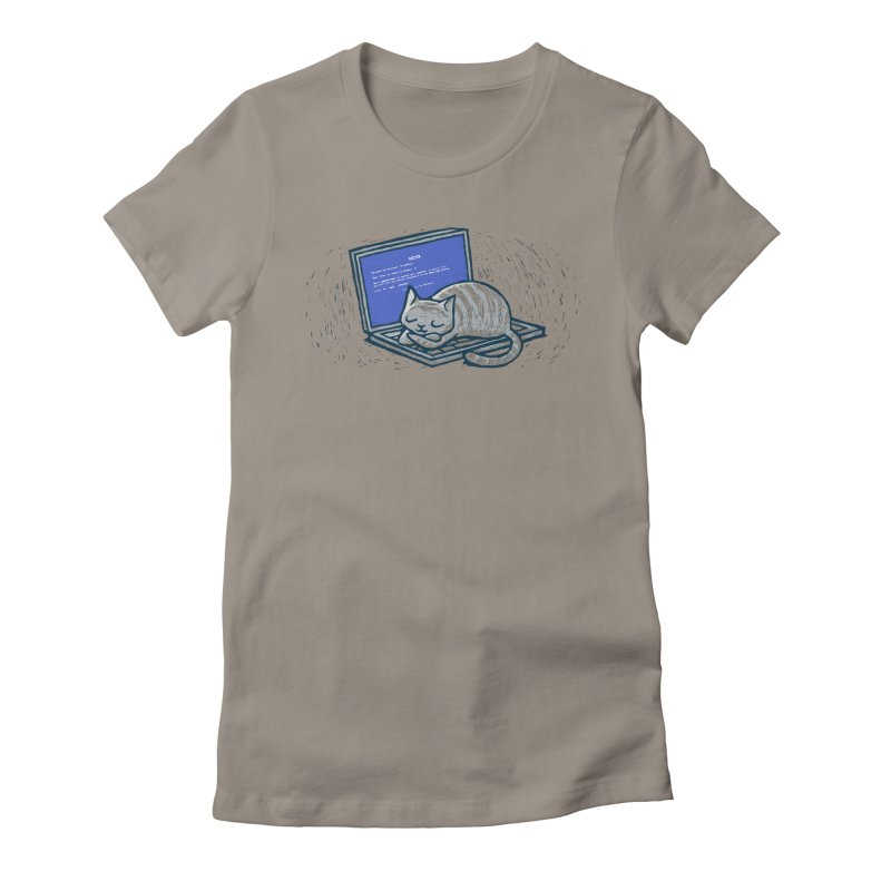 Blue Screen of Cat Women's Fitted T-Shirt by Ape Lad's Artist Shop