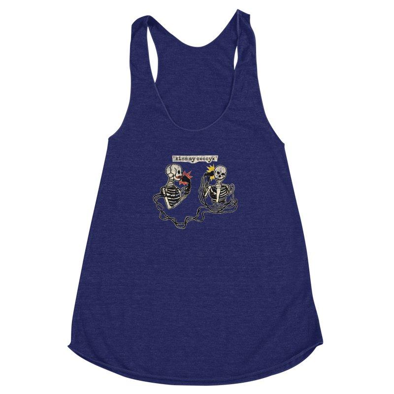 Skeleton Call : Kiss My Coccyx Women's Racerback Triblend Tank by Applesawus