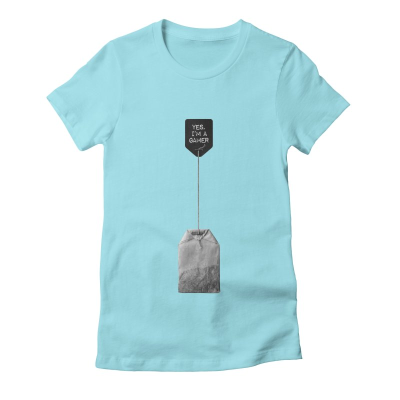 TeabagGate : Yes, I'm A Gamer Tea Bag (Black and White) Women's Fitted T-Shirt by Applesawus