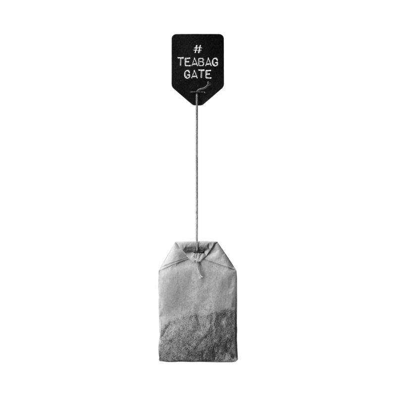 TeabagGate Hashtag Tea Bag (Black and White) by Applesawus
