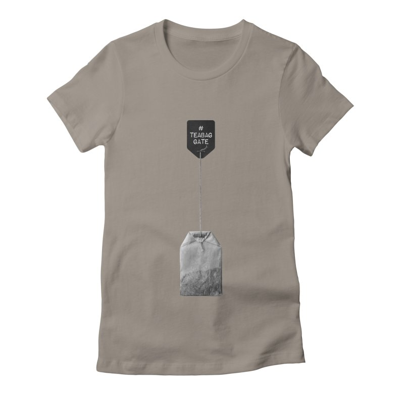 TeabagGate Hashtag Tea Bag (Black and White) Women's Fitted T-Shirt by Applesawus
