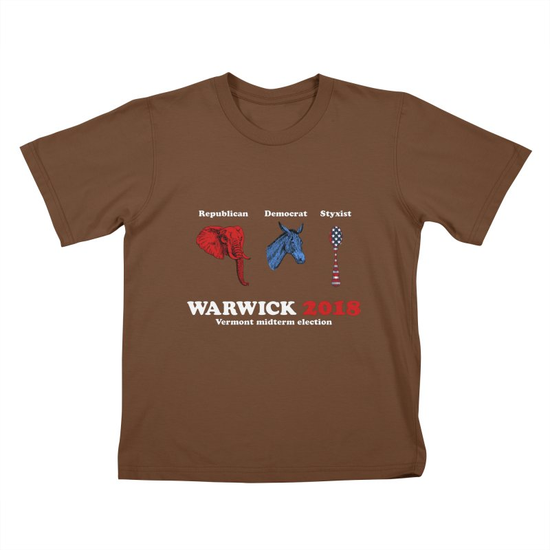 Warwick 2018 : Republican, Democrat, Styxist (white text) Kids T-Shirt by Applesawus