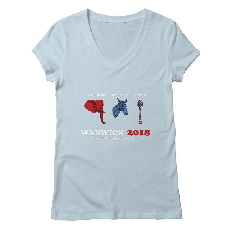Warwick 2018 : Republican, Democrat, Styxist (white text) Women's Regular V-Neck by Applesawus