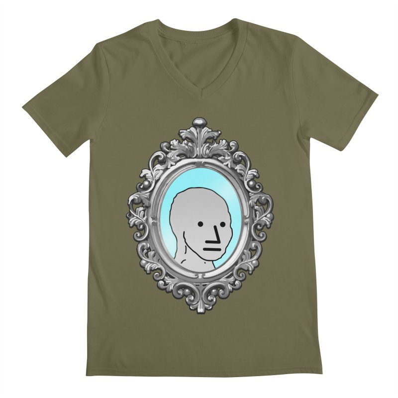 NPC in the Mirror Men's Regular V-Neck by Applesawus