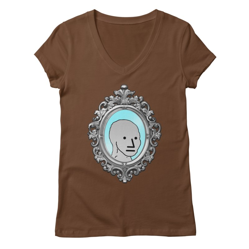 NPC in the Mirror Women's Regular V-Neck by Applesawus