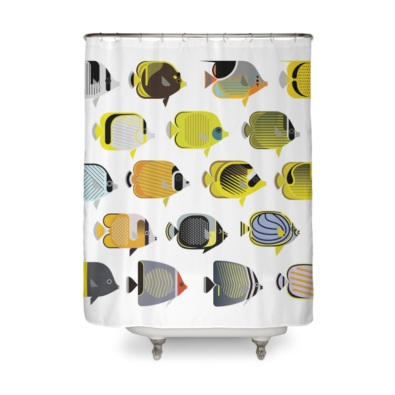 Designer Butterflyfish Bath Collection Home Shower Curtain by Aquarium Apps Apparel