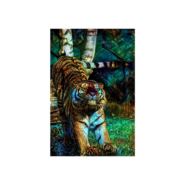 image for Stained Glass Gilded Tiger