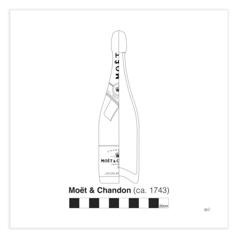 Moet 2 - Archaeological Drawing Home Fine Art Print by archaeobarware's Artist Shop