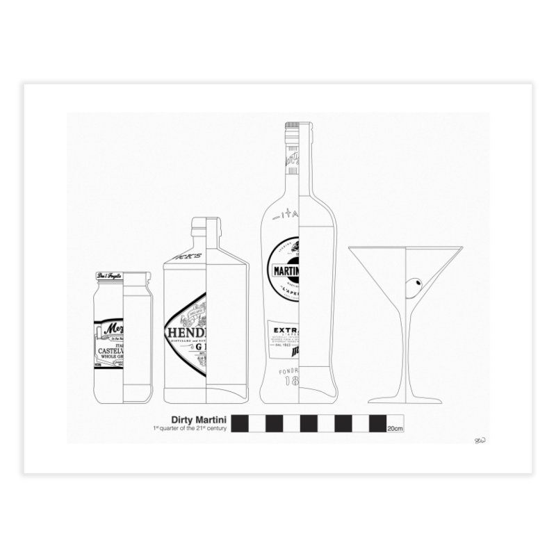 Dirty Martini - Archaeological Drawing Home Fine Art Print by archaeobarware's Artist Shop