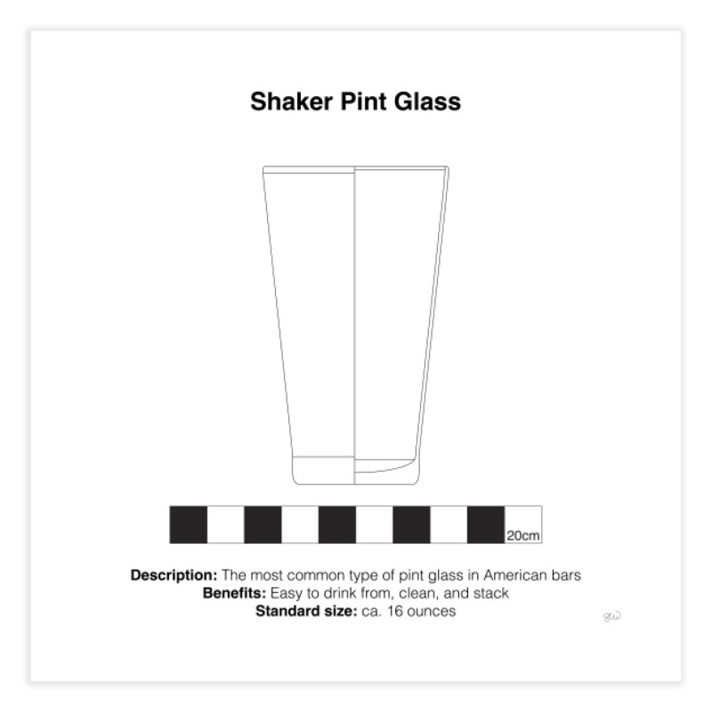 Shaker Pint Glass - Archaeological Drawing Home Fine Art Print by archaeobarware's Artist Shop