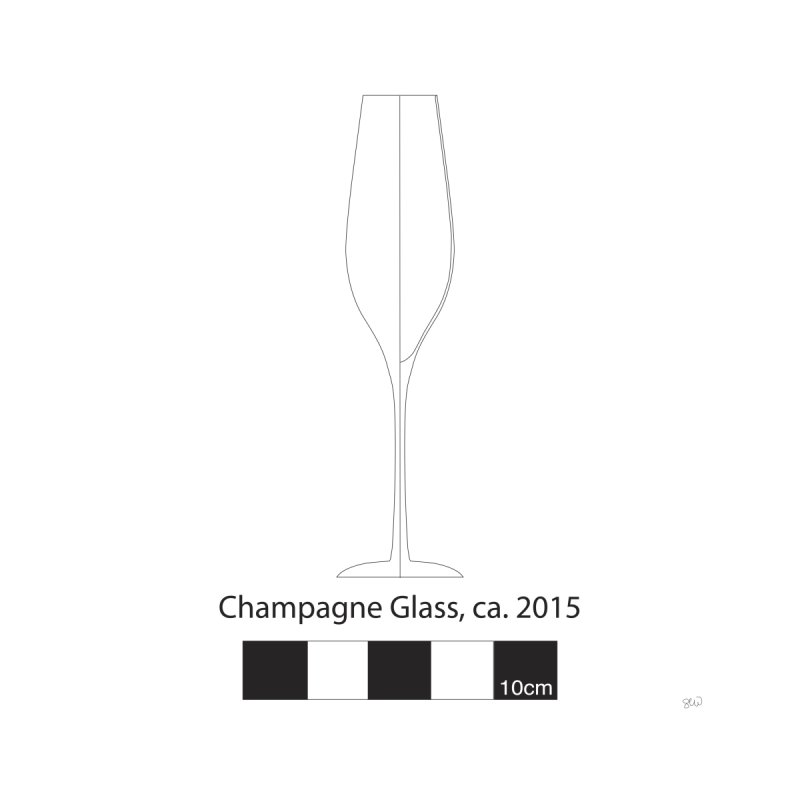 Champagne Glass - Archaeological Drawing Home Fine Art Print by archaeobarware's Artist Shop