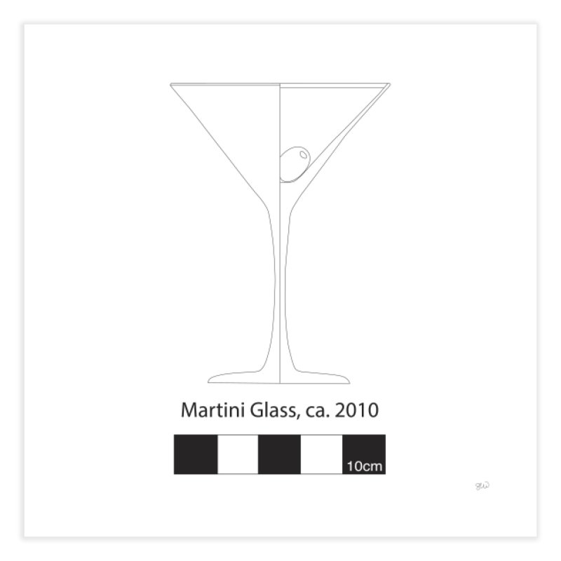 Martini Glass - Archaeological Drawing Home Fine Art Print by archaeobarware's Artist Shop