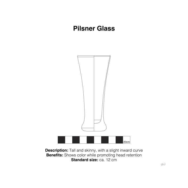 Pilsner Glass - Archaeological Drawing Home Fine Art Print by archaeobarware's Artist Shop
