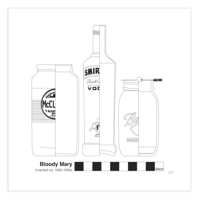Bloody Mary - Archaeological Drawing Home Fine Art Print by archaeobarware's Artist Shop