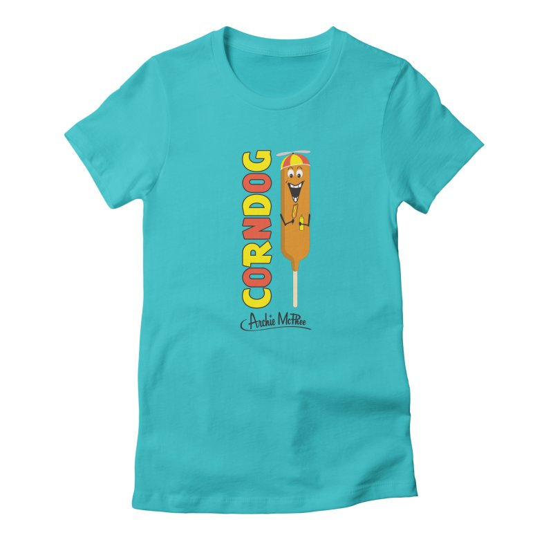 Corn Dog Women's Fitted T-Shirt by Archie McPhee Shirt Shop
