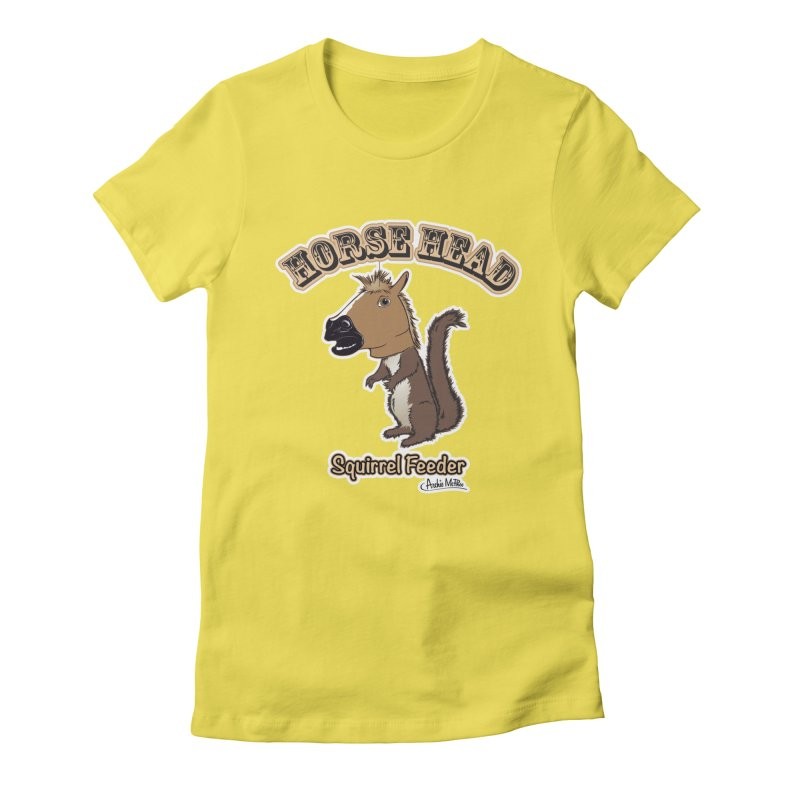 Horse Head Squirrel Feeder Women's Fitted T-Shirt by Archie McPhee Shirt Shop