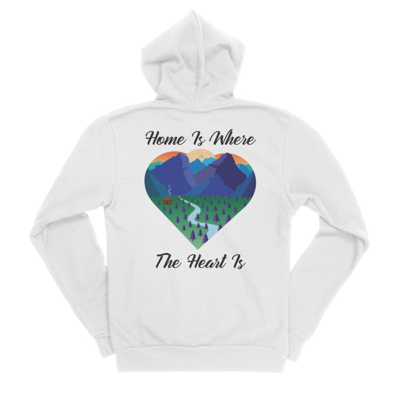 Home Is Where The Heart Is - Mountain (Black Text) Men's Zip-Up Hoody by Aries & Leo