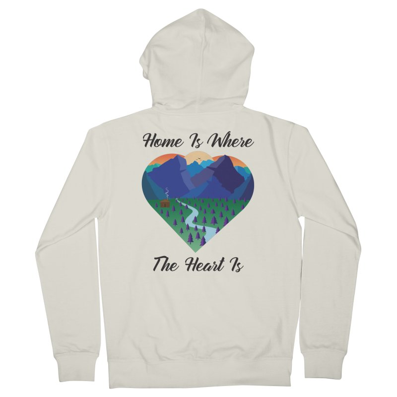 Home Is Where The Heart Is - Mountain (Black Text) Women's Zip-Up Hoody by Aries & Leo