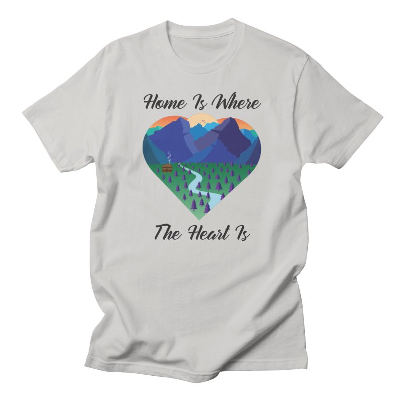 Home Is Where The Heart Is - Mountain (Black Text) Men's T-Shirt by Aries & Leo