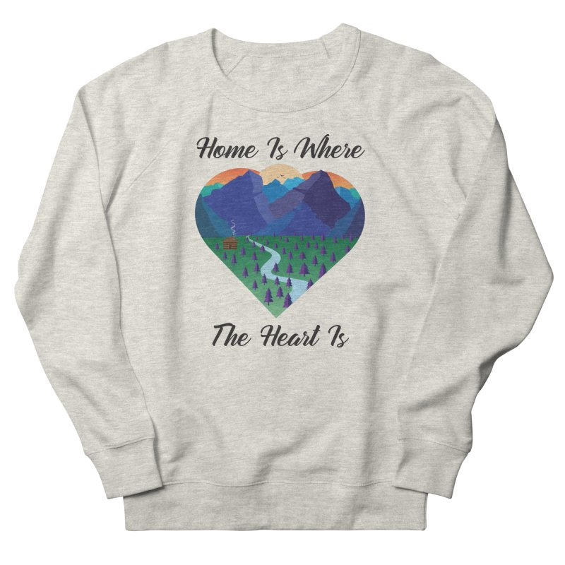 Home Is Where The Heart Is - Mountain (Black Text) Men's Sweatshirt by Aries & Leo