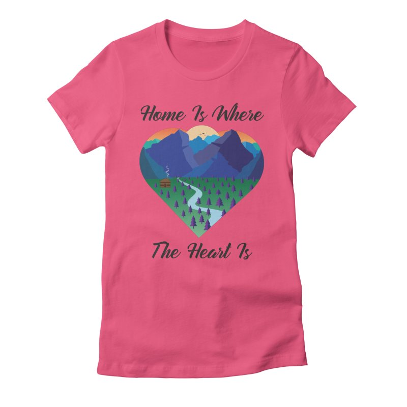 Home Is Where The Heart Is - Mountain (Black Text) Women's T-Shirt by Aries & Leo