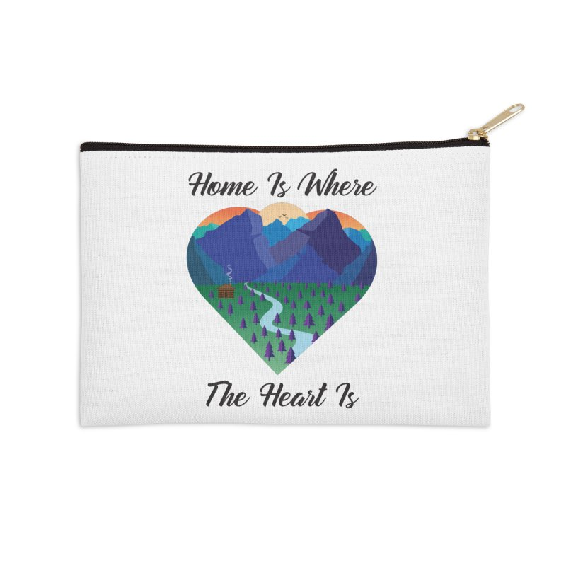 Home Is Where The Heart Is - Mountain (Black Text) Accessories Zip Pouch by Aries & Leo