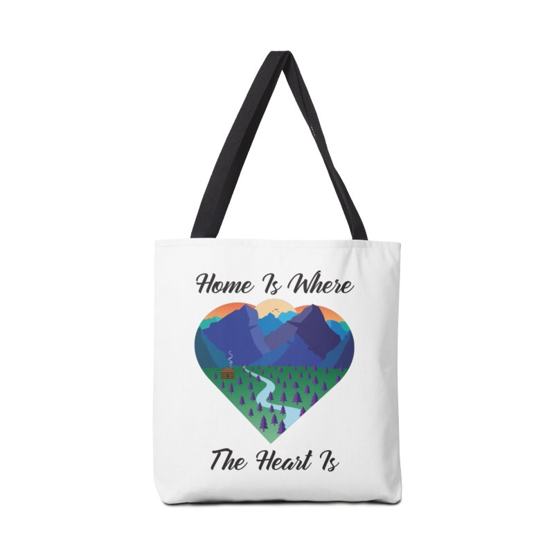 Home Is Where The Heart Is - Mountain (Black Text) Accessories Bag by Aries & Leo