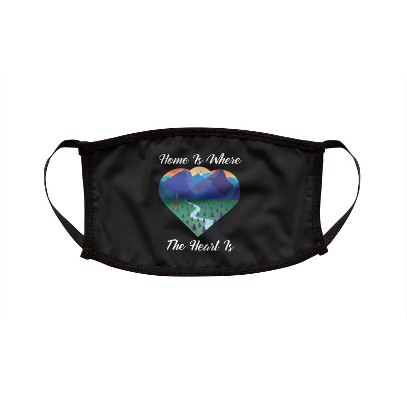 Home Is Where The Heart Is - Mountain (White Text) Accessories Face Mask by Aries & Leo