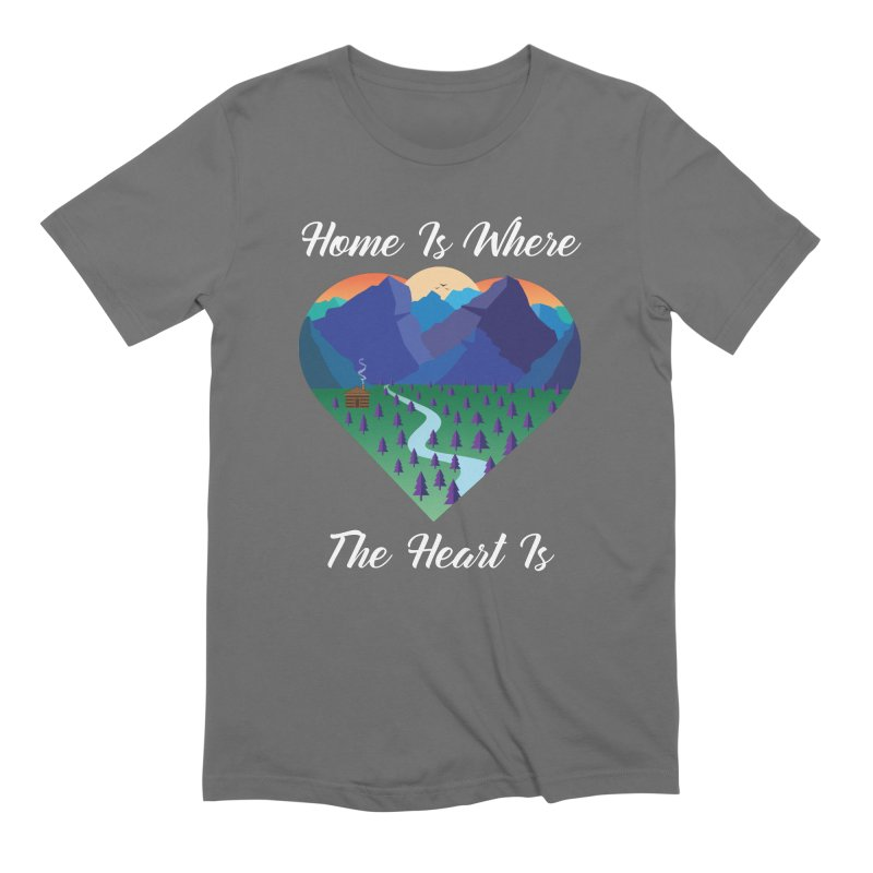 Home Is Where The Heart Is - Mountain (White Text) Men's T-Shirt by Aries & Leo