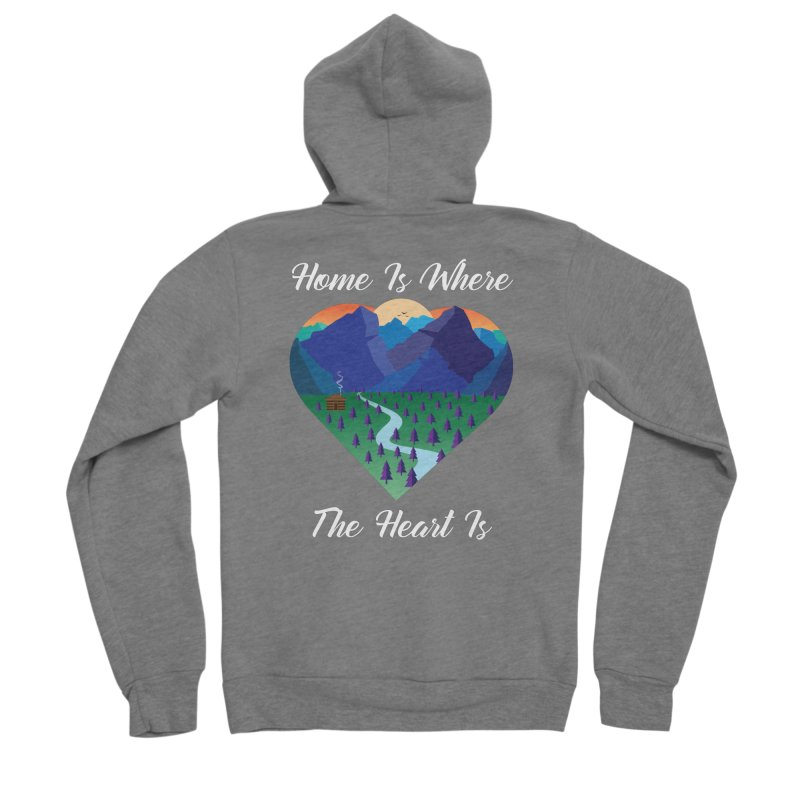 Home Is Where The Heart Is - Mountain (White Text) Men's Zip-Up Hoody by Aries & Leo