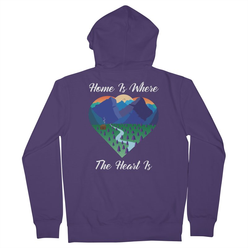 Home Is Where The Heart Is - Mountain (White Text) Women's Zip-Up Hoody by Aries & Leo