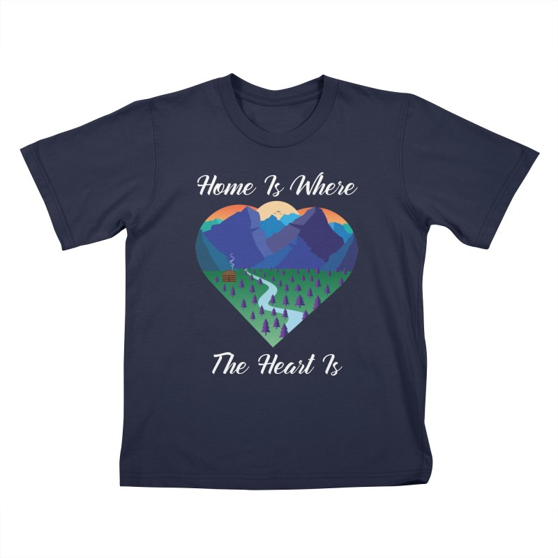 Home Is Where The Heart Is - Mountain (White Text) Kids T-Shirt by Aries & Leo