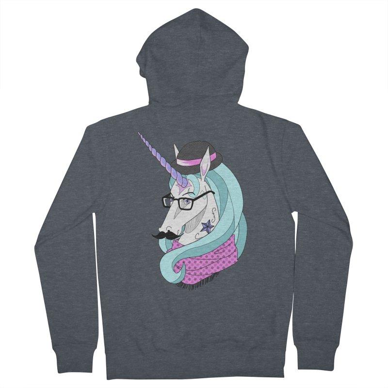 Hipster Unicorn Men's Zip-Up Hoody by ariesnamarie's Artist Shop