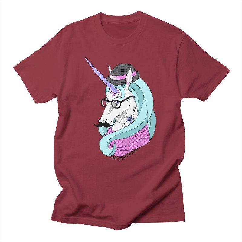 Hipster Unicorn Men's T-shirt by ariesnamarie's Artist Shop