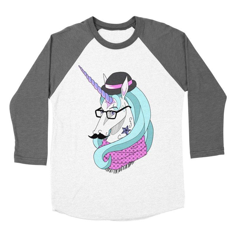 Hipster Unicorn Women's Baseball Triblend T-Shirt by ariesnamarie's Artist Shop