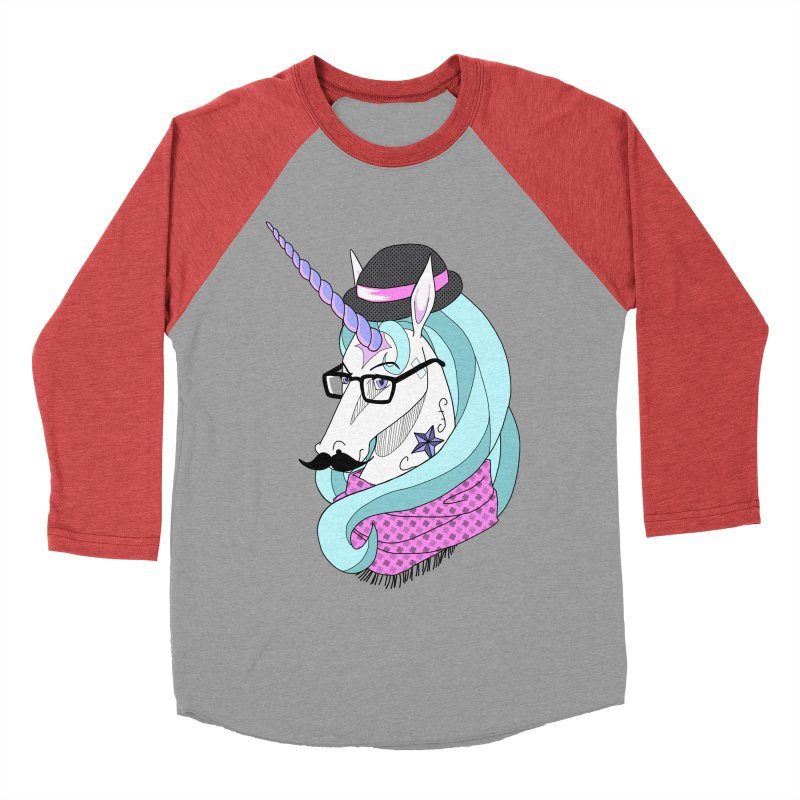 Hipster Unicorn Men's Baseball Triblend T-Shirt by ariesnamarie's Artist Shop