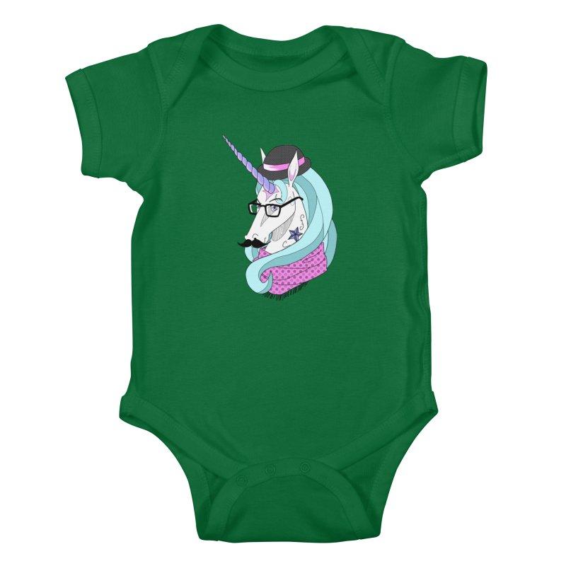 Hipster Unicorn Kids Baby Bodysuit by ariesnamarie's Artist Shop