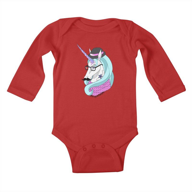 Hipster Unicorn Kids Baby Longsleeve Bodysuit by ariesnamarie's Artist Shop