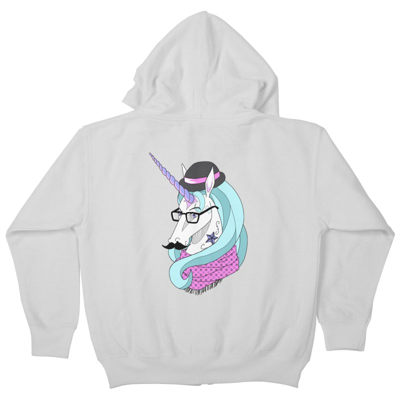 Hipster Unicorn Kids Zip-Up Hoody by ariesnamarie's Artist Shop