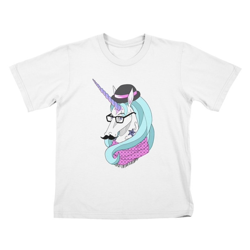 Hipster Unicorn Kids T-shirt by ariesnamarie's Artist Shop