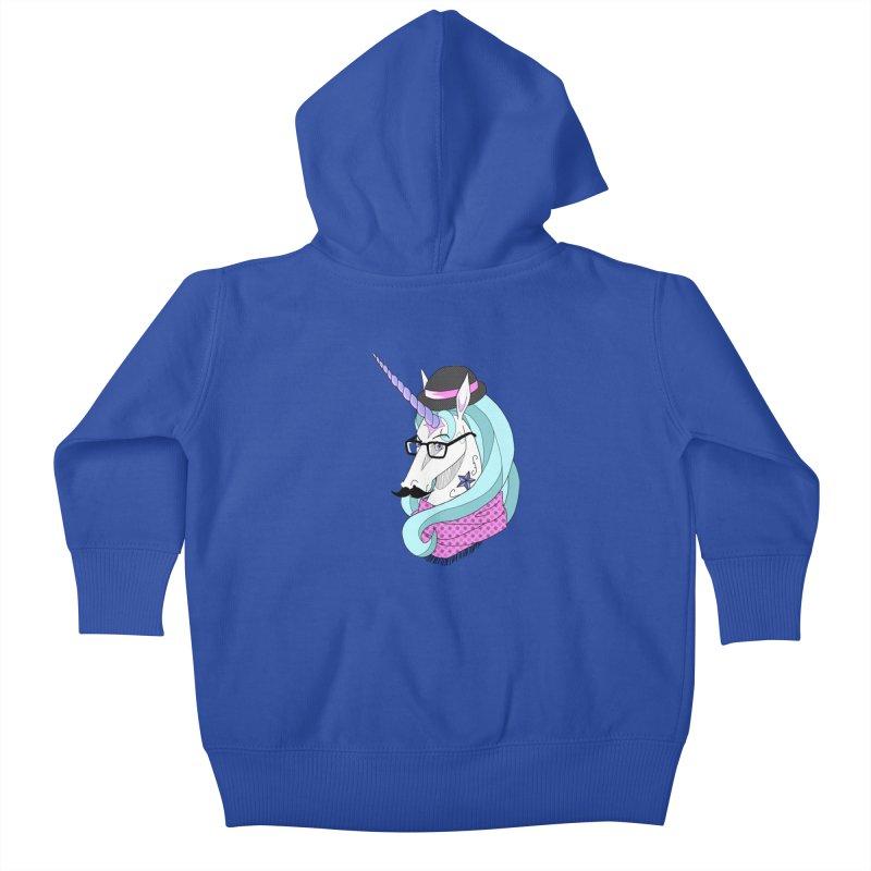 Hipster Unicorn Kids Baby Zip-Up Hoody by ariesnamarie's Artist Shop
