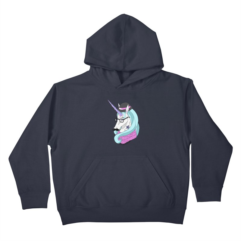Hipster Unicorn Kids Pullover Hoody by ariesnamarie's Artist Shop