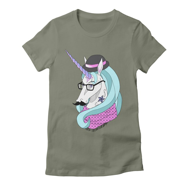 Hipster Unicorn Women's Fitted T-Shirt by ariesnamarie's Artist Shop