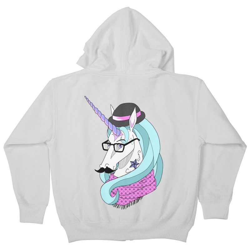 Hipster Unicorn Kids Zip-Up Hoody by ariesnamarie's Artist Shop