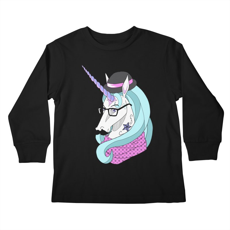 Hipster Unicorn Kids Longsleeve T-Shirt by ariesnamarie's Artist Shop