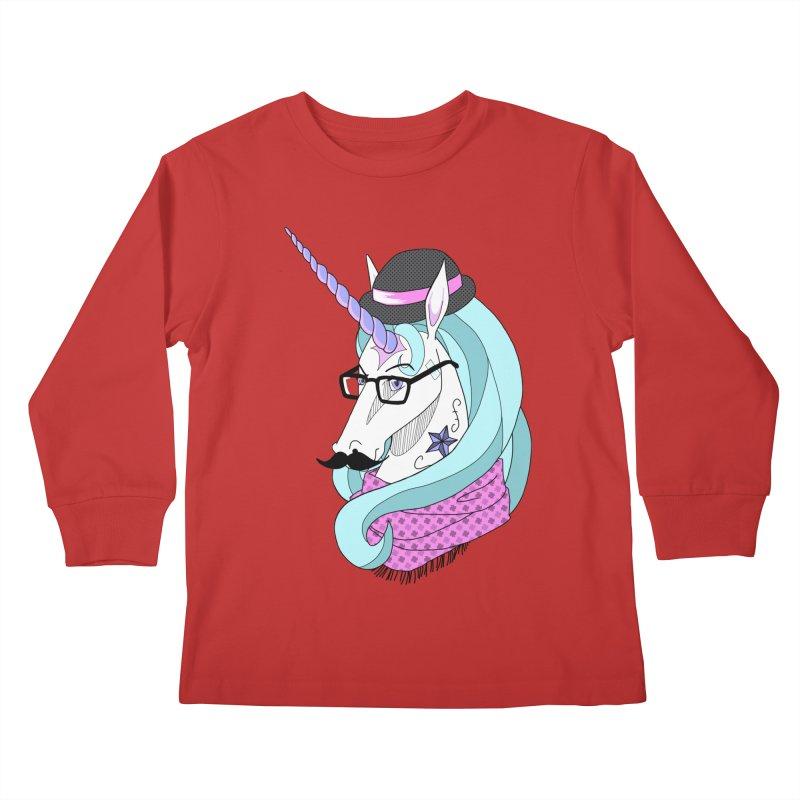 Hipster Unicorn Kids Longsleeve T-Shirt by ariesnamarie's Artist Shop