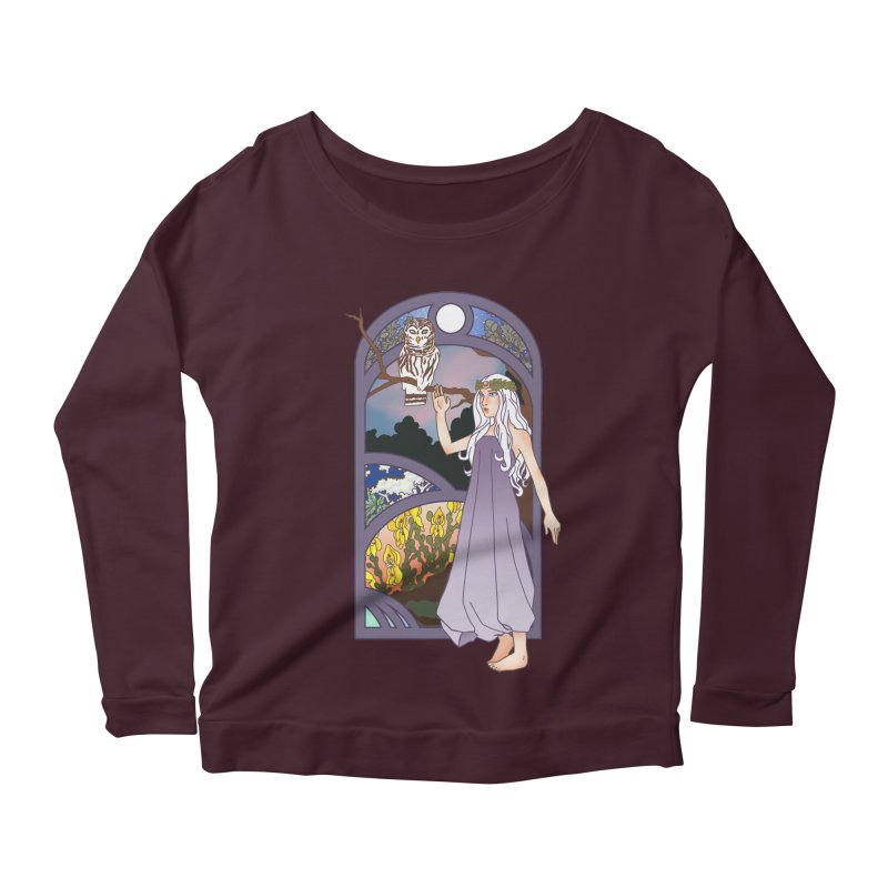 The Flower Maiden Women's Longsleeve Scoopneck  by ariesnamarie's Artist Shop