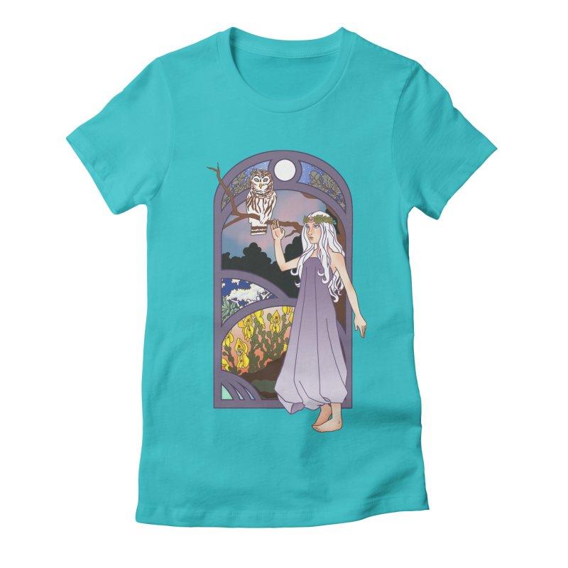 The Flower Maiden Women's Fitted T-Shirt by ariesnamarie's Artist Shop