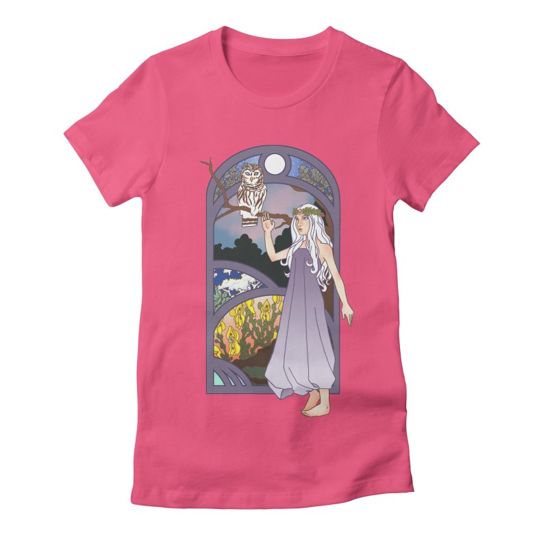 The Flower Maiden Women's Fitted T-Shirt by ariesnamarie's Artist Shop